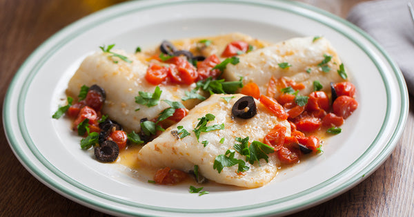 Halibut with Tomatoes Olives and Capers