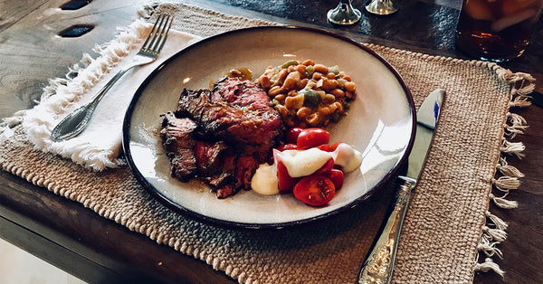 Bariatric Friendly Supper: Skirt Steak, Southwest Beans, Tomato Salad