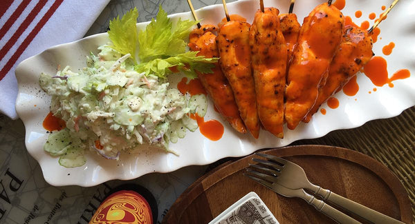 Grilled Buffalo Tenders, Blue Cheese Celery Slaw