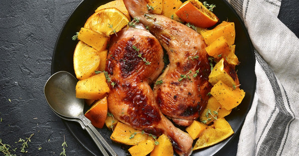SHEET PAN MEAL: Baked Chicken with Winter Squash and Orange
