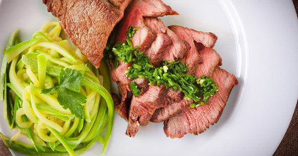 Sliced Steak with Garlic Zoodles - an Inspire Diet meal!