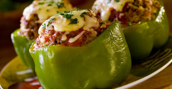 Air Fryer Roasted Stuffed Peppers (oven instructions too!)