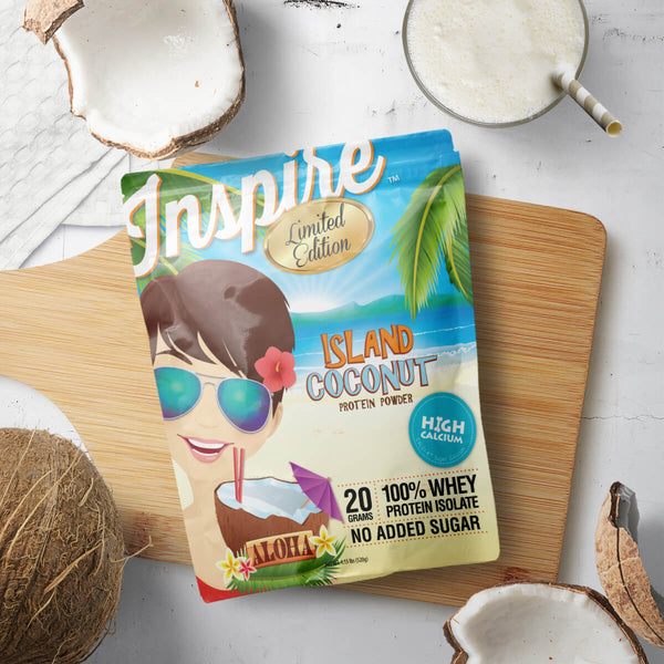 Arrives July 24th. Inspire Whey Protein Isolate, Island Coconut