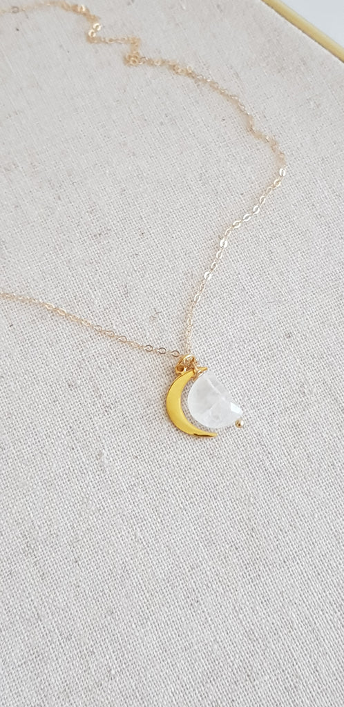 Rose gold Crescent Moon necklace with Moonstone