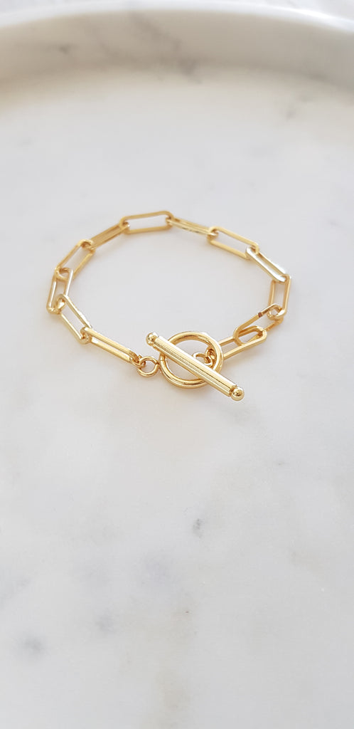 Paperclip toggle bracelet 14K goldfilled rhodium