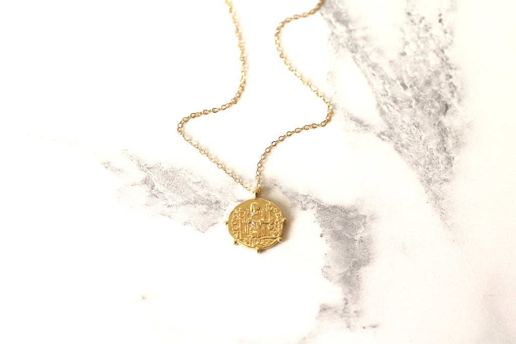 Medallion Gold Coin necklace Bohemian Doubloon Layering necklace
