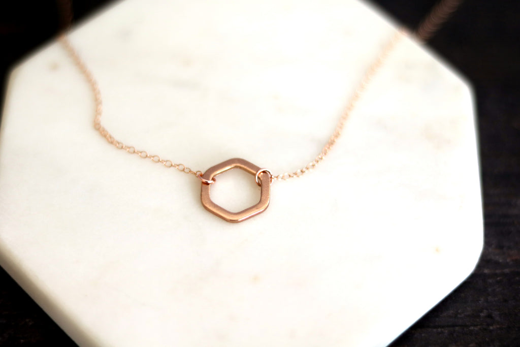 As Seen On Dead To Me - Rose gold Hexagon Necklace VitrineDesigns