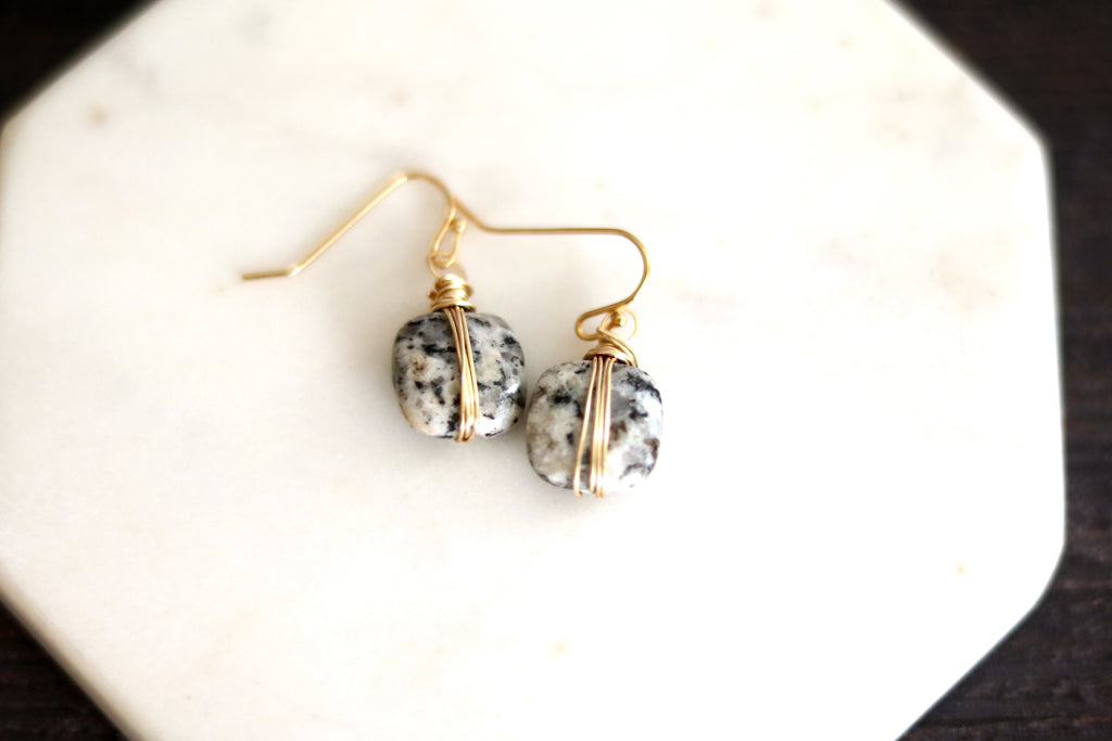 Dalmation granite square ISLA earrings
