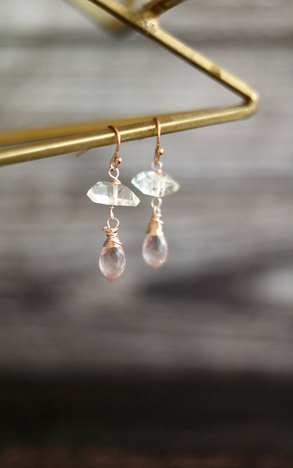 Rose Quartz and Herkimer Diamond Earrings April Birthstone Blush Jewelry