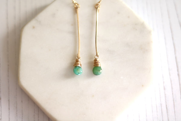 Linear Opal Earrings October Birthstone