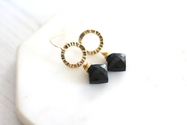 Black onyx gemstone gold earrings Eterna