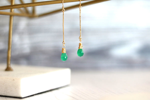 Emerald green onyx linear earrings 14K goldfilled Minimalist jewelry