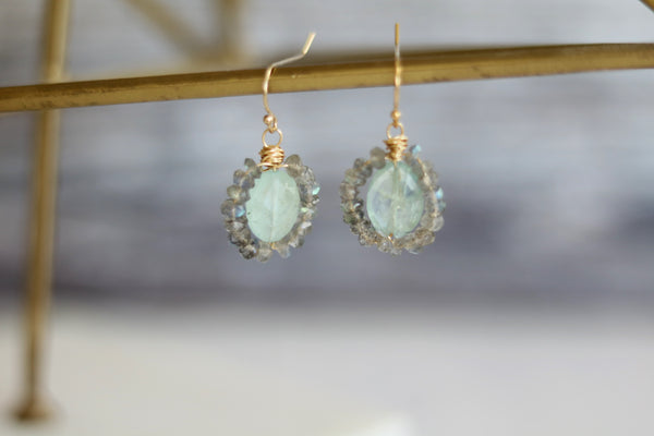 Blue Aquamarine and labradorite earrings