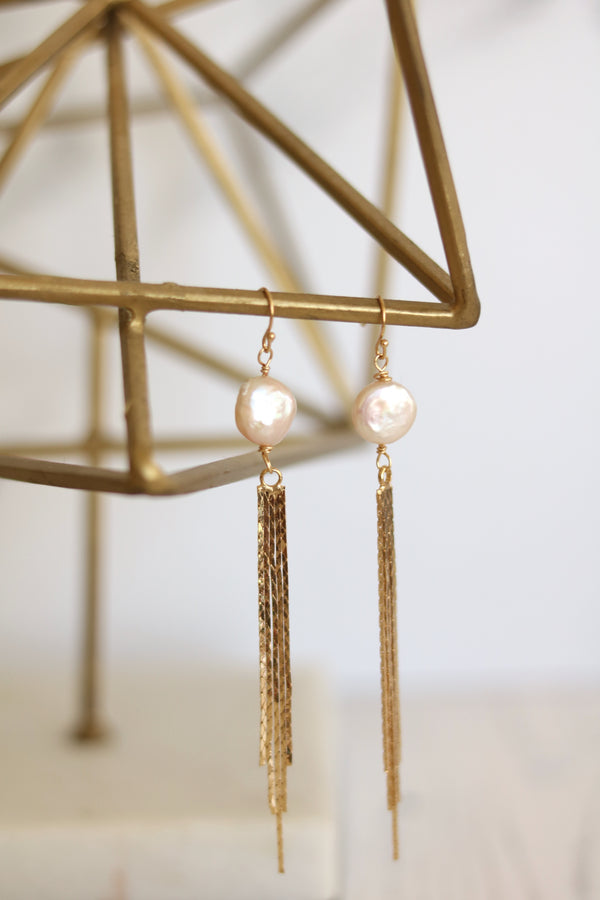 Blush Pink pearl Gold tassel Earrings June Birthstone dangle drops