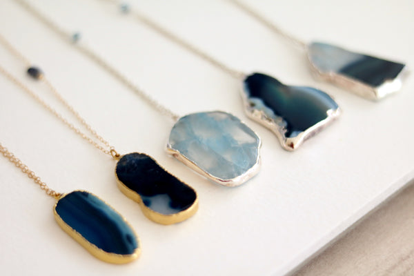Agate Slice necklace bohemian long statement necklace in Vermeil gold/ sterling silver