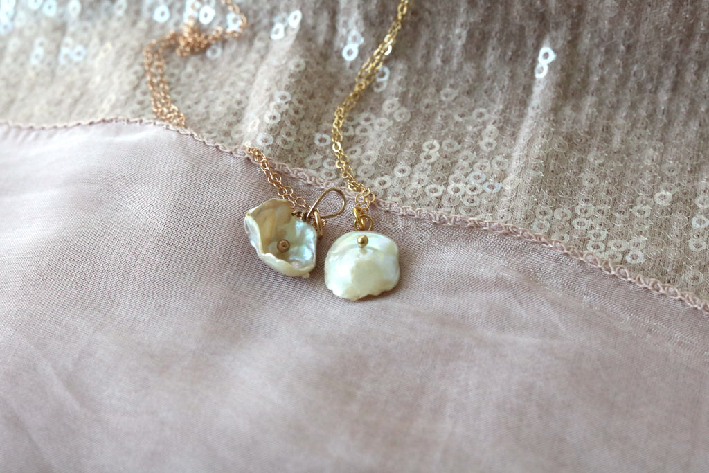Keshi Pearl Necklace June Birthstone pendant Blossom Flower Botanical Jewelry