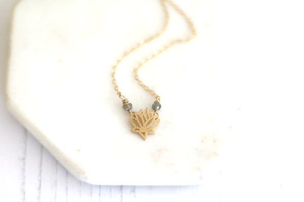 Gold Lotus necklace 14K goldfilled with gemstone birthstone