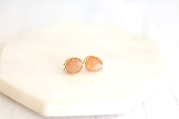 Peach Moonstone Stud earrings June birthstone post earrings Waterlily collection