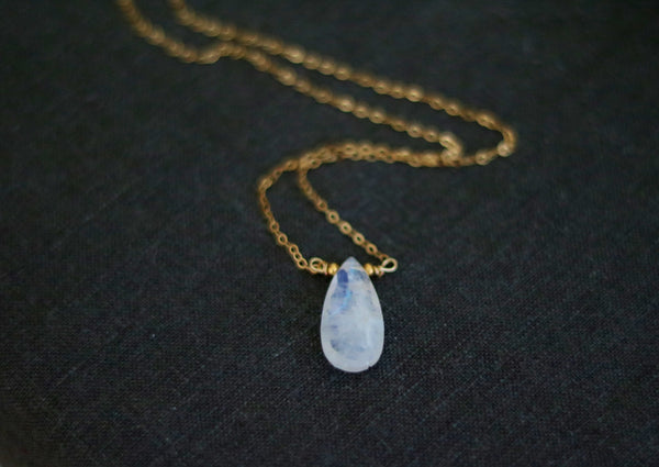 Rainbow Moonstone Necklace Faerie June Birthstone pendant necklace 14K goldfilled, 14K rose goldfilled