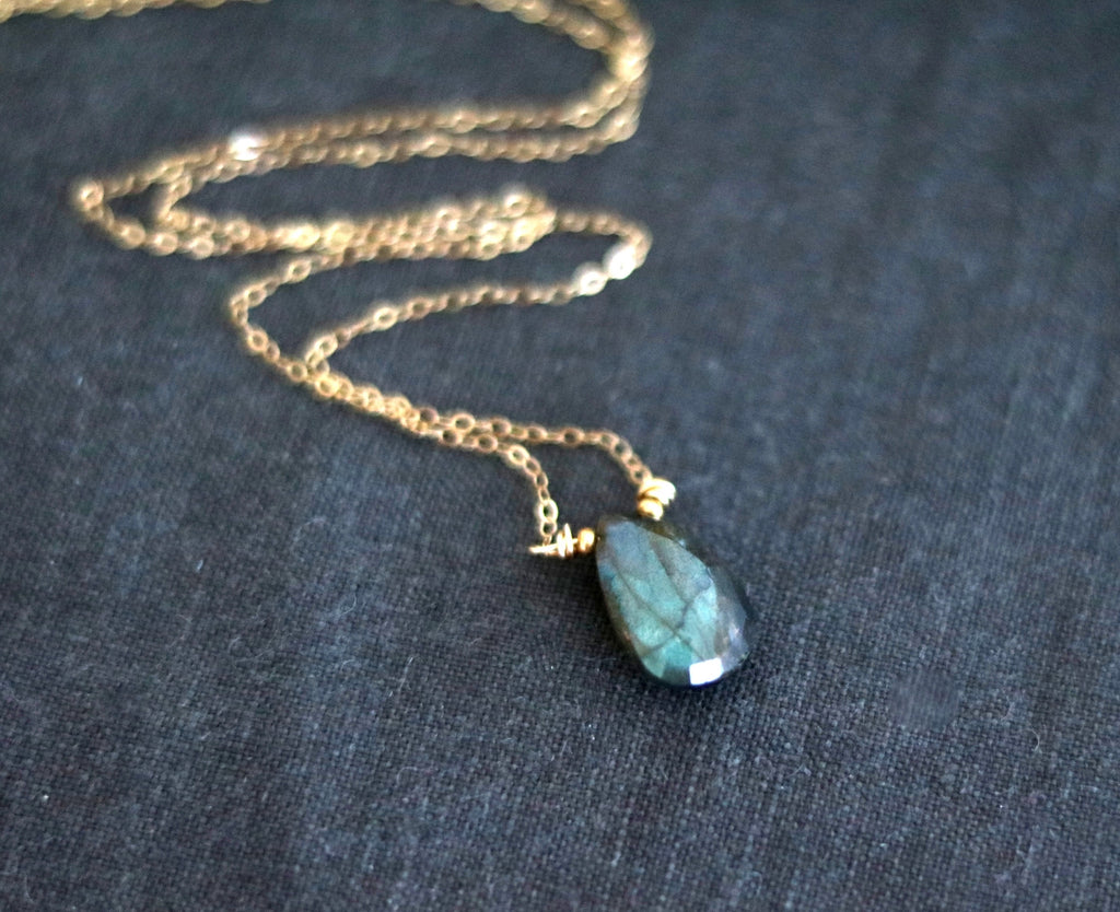 Flash Labradorite Necklace Faerie seagreen blue pendant necklace 14K goldfilled, 14K rose goldfilled