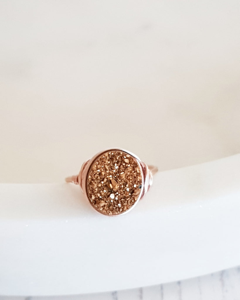 Bronze oval druzy ring