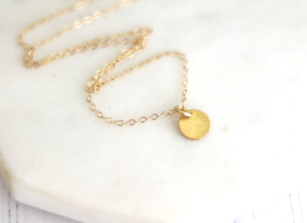 Dainty Round brushed vermeil gold textured pendant 14K goldfilled