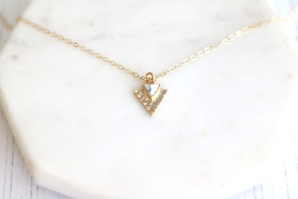 Gold Triangle Marble layering necklace