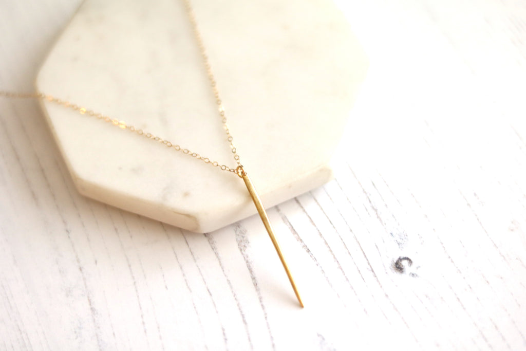 Gold Spike necklace Rose gold needle dagger Linear drop layering necklace
