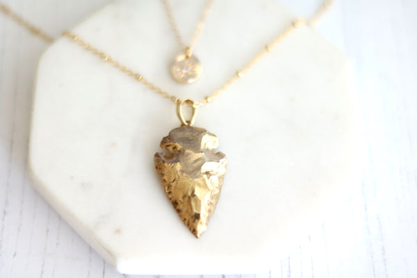 Arrowhead statement necklace 14K goldfilled