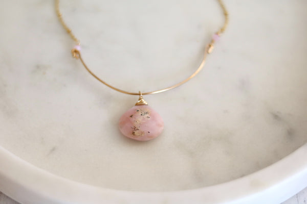 Pink Peruvian Opal Statement Bib Necklace