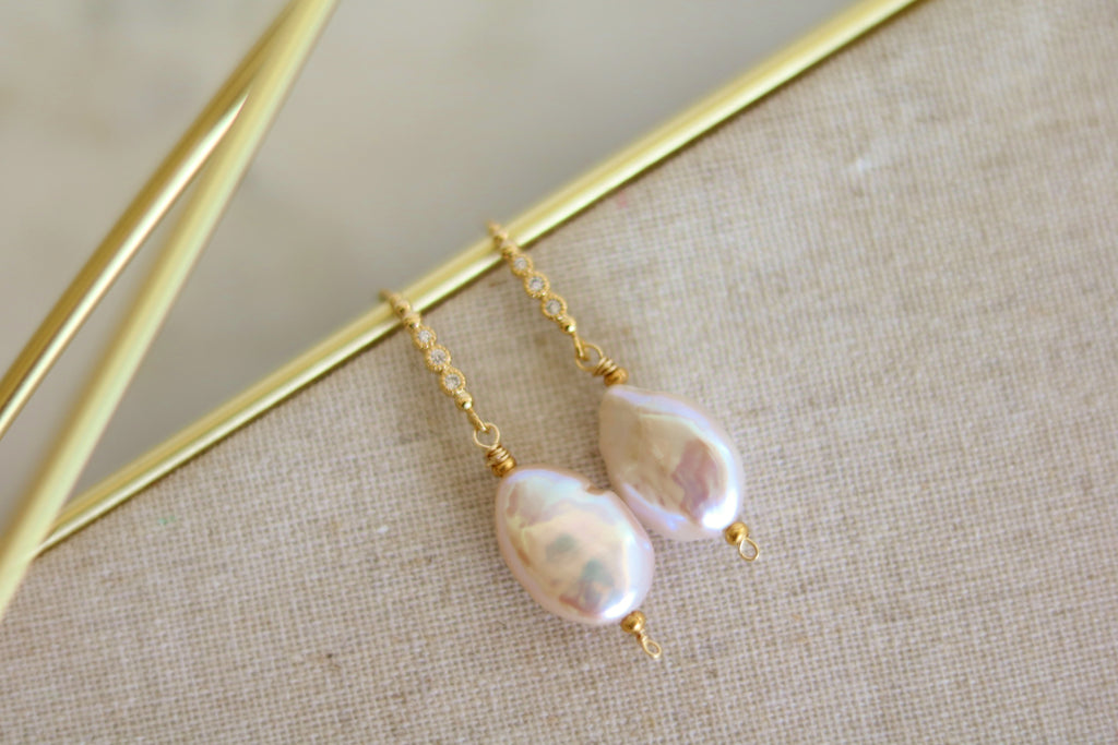 Baroque Pearl and Cubic zirconia earrings