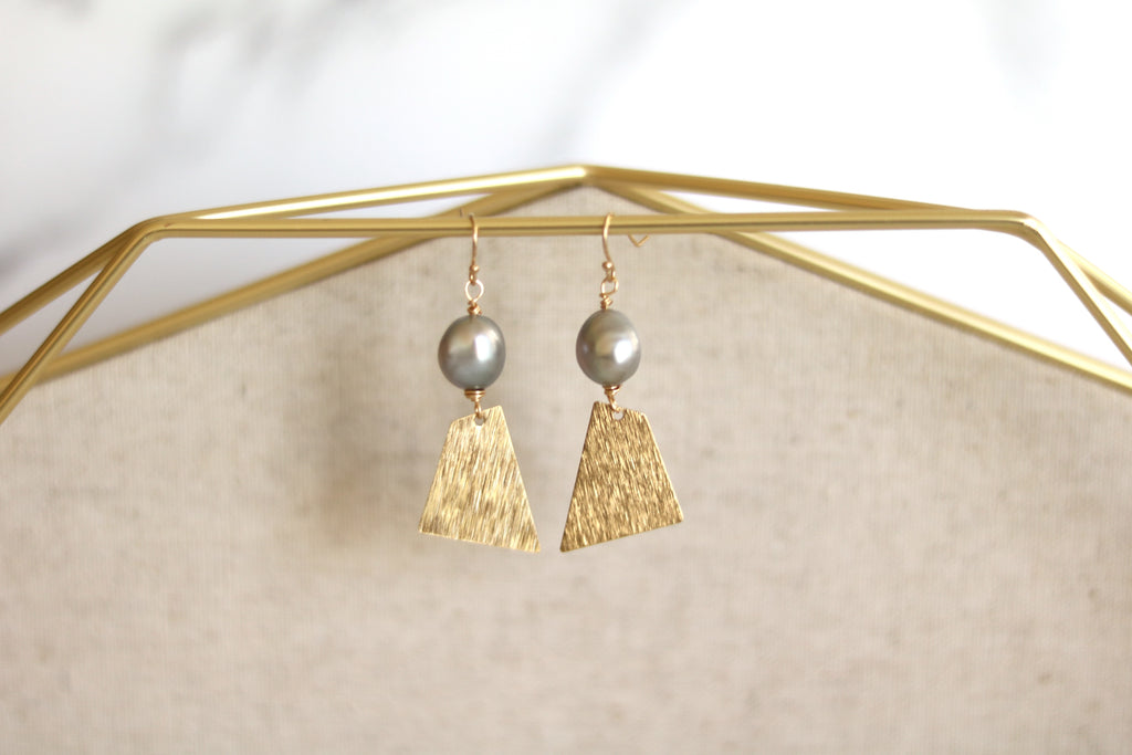 Modern grey pearl brushed gold earrings