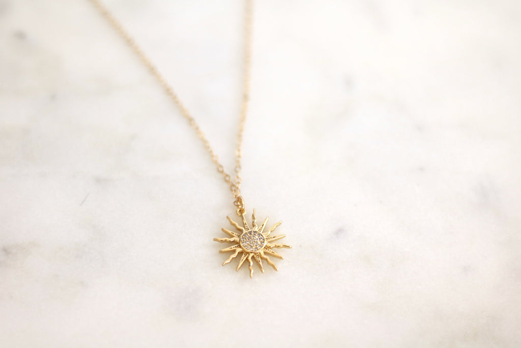 Gold sun layering necklace CZ Soleil