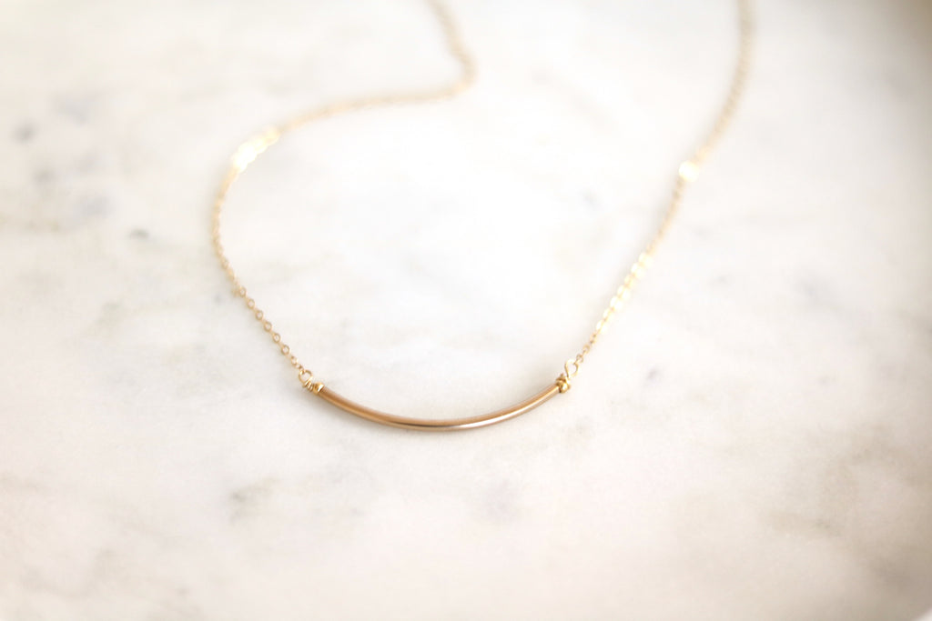 Curved Bar Layering Necklace 14K rose goldfilled Minimalist jewelry