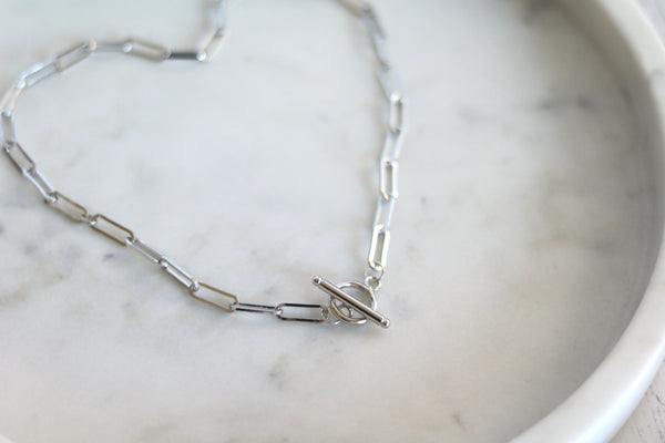 Silver Toggle paperclip necklace with without Pearl charm