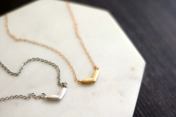 Minimalist Heart Necklace Boomerang chevron