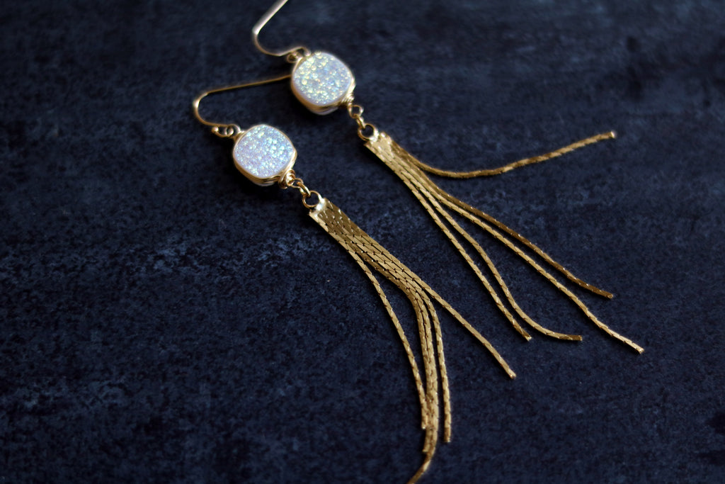 White druzy Long Gold Tassel Earrings