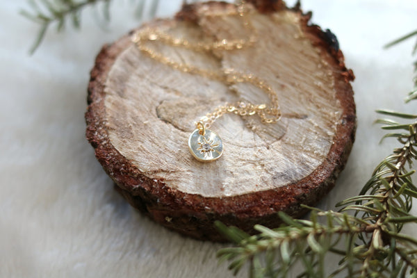 North Star Gold layering necklace CZ compass