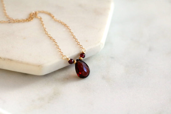 Dainty Garnet gemstone Necklace VitrineDesigns