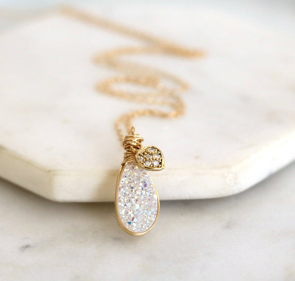 White Druzy necklace with CZ heart Valentine gift