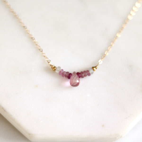 Ombre Pink Sapphire and Topaz bar necklace
