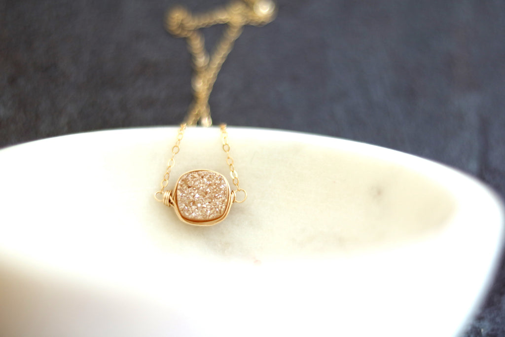 Druzy Necklace Champagne Cushion Cut