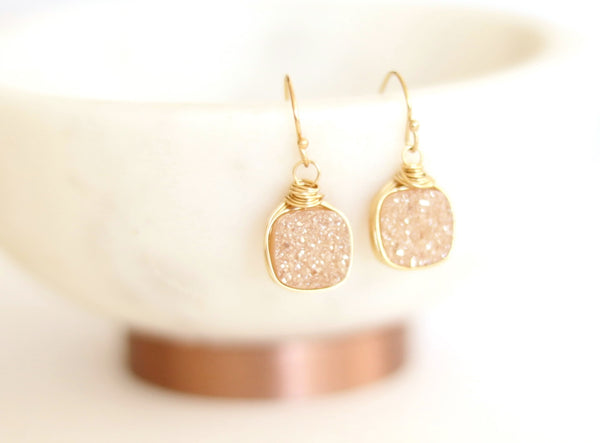 Champagne Druzy Dangle Earrings by VitrineDesigns