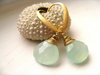 Aqua Chalcedony teardrop earrings with brushed gold