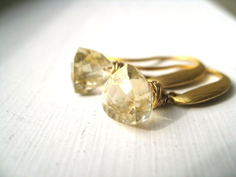 Citrine earrings Trillion November birthstone