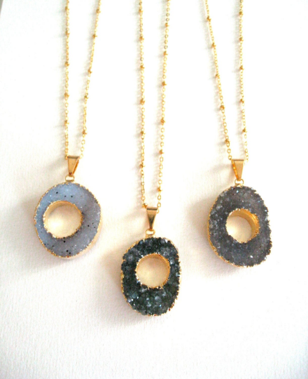 Long statement donut druzy necklace in Vermeil gold VitrineDesigns