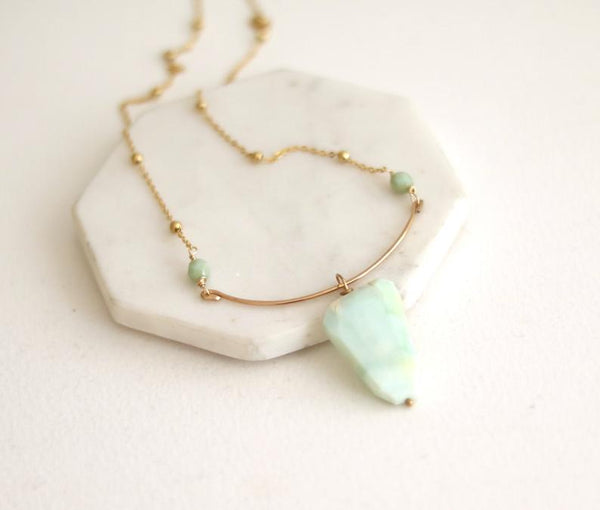 Green Peruvian Opal Statement Bib Necklace