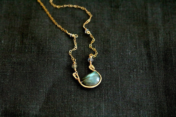 As seen on The Vampire Diaries - Rockpool Flash Labradorite Necklace