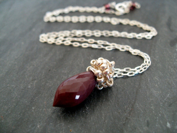 As seen on The Vampire Diaries - Burgundy Mookaite necklace on Caroline Forbes (Actress Candice Accola King)