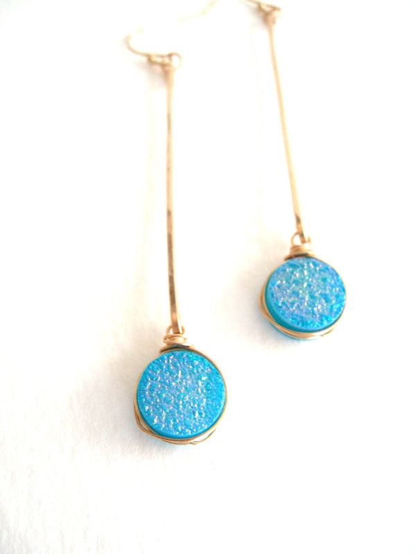 Linear Stick earrings Turquoise Druzy